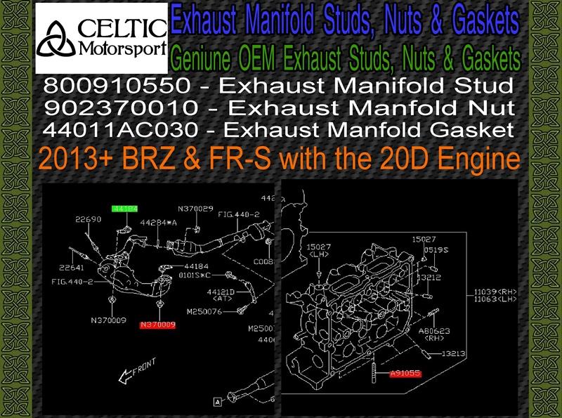 BRZ FR-S 20D Stud /& Nut Kit 2013 Genuine Subaru OEM Exhaust Manifold Gaskets